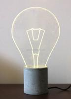 Concrete LED Table Lamp Bulb Shape Table Lamp Decorative Home Goods Table Lamp