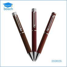 Hot selling style pen/leather pen for favor choice brand metal ball pen
