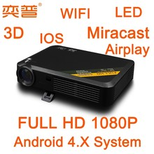 3D 1080P Mini Projector with Miracast DLNA Airplay WIFI remoter
