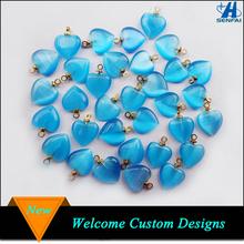 Beautiful Blue Cat Eye Stone Heart Charm, Blue Heart Shaped Natural Stone Beads Charm Pendant