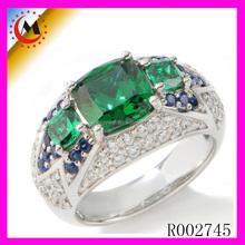 Atacado 2015 mais recente três anel de pedras preciosas verdes CHINA barato anéis preço