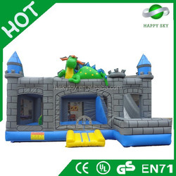 2015 Factory direct sale top quality inflatable dinosaur bouncer, inflatable slide with bouncer, inflatable small house castle