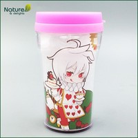 9oz 250ml Plastic Double Wall Photo Printing Mug Cup with Lid