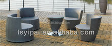 stacking wicker furniture with glass top table YPS020