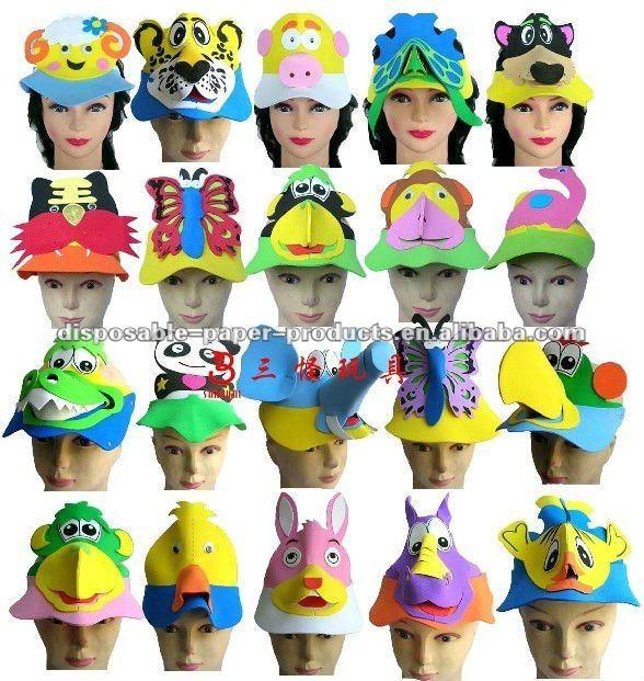 Venta al por mayor de la fiesta de cumpleaños sombreros / de espuma animales del parque zoológico sol viseras del sombrero del partido favores