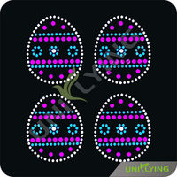 Colorful Easter rhinestone geometric motifs