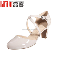 Factory wholesale High-end genuine leather new design fashion ladies dance shoes bridal low heel wedding shoes