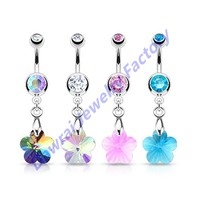DAR-HS Wholesale Checkout 316L Surgical Steel Crystal Ray Prism Flower Dangle Navel Ring Belly Piercing Jewelry