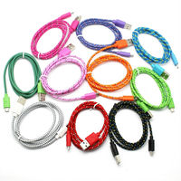 Colorful textile braided micro usb cable for iphone samsung smart phone
