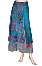 Vintage Silk Sari Wrap round Skirt Long Length