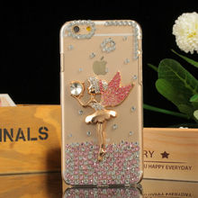 5.5inch Mobile Phone Case for iPhone 6 Plus Fashion Rhinestone Slim Cover with Angel