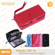 2 in 1 Detachable Magnetic Flip Cover Folio Carrying zipper Case for iphone 6 Compartment Handbag and Wrist Strap