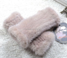 new desined in 2013 lady fur lined leather glove/winter hat scarf glove/beautiful mittens rabbit fur for girls