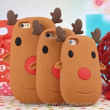 2015 new style Christmas gift 3D Santas Reindeers Silicone mobile phone case cover for iphone 5 5s 6 6s 6plus CO-SIL-413