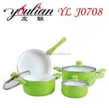 good looking green health food 7 piece aluminum ceramic nonstick kitchen appliance cookware