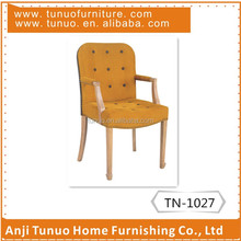 Arm chair,solid wood frame,nailhead around,seat and back with button.TN-1027