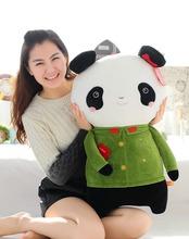 Promotional Newly Designed plush Panda shape Pillow/cushion/bolster for fun massage with military uniform