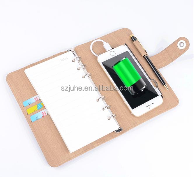 CHAUDE a5 pu couverture en cuir anneau exécutif portable avec câble USB, reliure à anneaux usb titulaire dossier