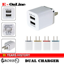 High Quality 5V 2.1/1A Double US AC Travel USB Wall Charger for iPhone Samsung Galaxy HTC for tablets android phone free samples