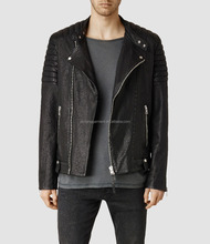 mens padded shoulders and band collar lambskin leather biker jacket