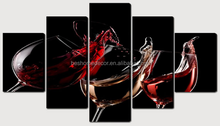 5 panels canvas art,wine picture,canvas prints cheap china
