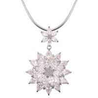latest snowflake necklace made with AAAA zircon Collar for lady winter product new design long necklac pendant