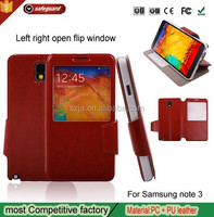Luxury stand Genuine leather Holster For samsung galaxy note 3 case Left right open Flip phone cases for N9000
