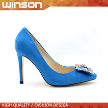 pointed toe high heel dress shoes with jewel for lady