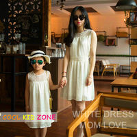 COOL KID ZONE summer white sleeveless mother and daughter chiffon princess dress