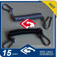 Semi-transparent Spring Steel Wire Lanyard With carabiner