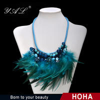 2015 Fashion Jewelry Folk Lux Crystal Drops and Glass Beads Bib Feather Necklace