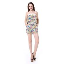 Sexy Women Fashion Desinger Cotton Short Pants Strapless Mini Lace Jumpsuits