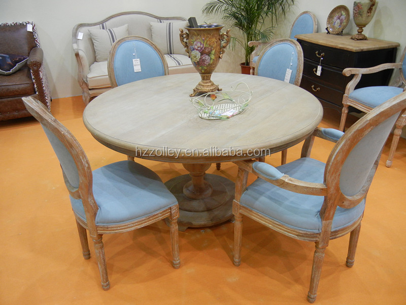 Madeira r stica mesa de jantar redonda mesa de madeira for Mesa redonda para 6 sillas