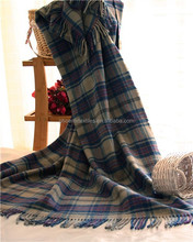 high quality wool blanket,soft hand feeling, beautiful plaid stripes design