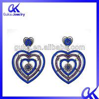 jewelry, fashion handmade fabric flower metal chain earrings