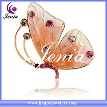 New design butterfly 18k real gold plated crystal brooch antique brooches for sale (XZ034)