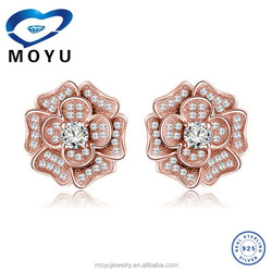 2015 fashion diamond stud earring women's rose shaped Jewelry rose gold/rhodium plated