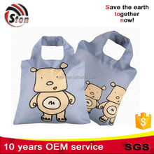 cartoon print customized foldable 190t 210d nylon polyester shopping bags for promotional