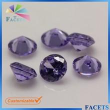 FACETS GEMS Wholesale Customizable Violet Cubic Zirconia Round Cut Loose Gemstone