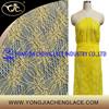 Shantou factory lace nylon embroidery evening dress fabric yellow beautiful lace fabric(YJC81008)