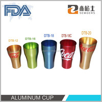 Colorful aluminum cup for hotel supplies, aluminum soft anodized big cup for promotion