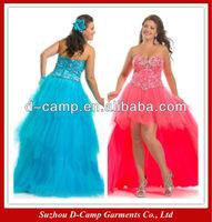 OC-1925 Strapless beaded corset top custom prom dress maker high low prom dress for fat women