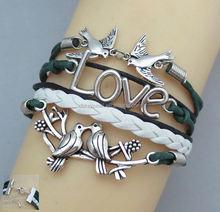 Love bracelet, infinitybracelet, heart to heart bracelet, leather rope bracelet bangle weave with extension chain
