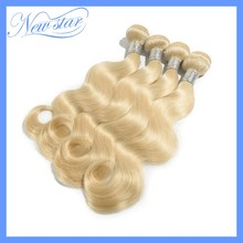 6A New Star alibaba express 100% remy human hair body wave #613 blonde color 4 bundles mixed lengths