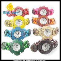 Fashion wooden coconut quartz charming colorful lady wrist watch(SW-280)