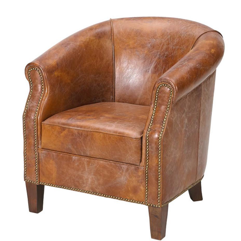 American Vintage Leather Tub Chair View American Vintage
