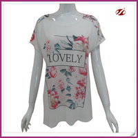 laides colorful floral printing thsirt,2015 new t shirt design