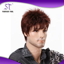 short brown synthetic fashion design cheap hairpieces for men for european or american boy or man