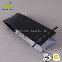 1000g black decorated plastic coffee bag with valve
