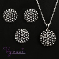 wholesale round shape vespa new products clear crystal handmade jewelry set